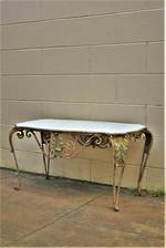 French Wrought Iron & Marble Topped Conservatory or Coffee Table $950