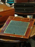 Antique English Mahogany Writing Slope Desk Compendium $425