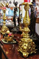 Huge Italian Rococo Revival Gilded Candlesticks $1850.00 pair