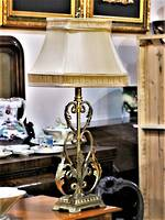 Gilded Wrought Iron Lamp Base with Silk Shade