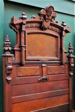 Impressive French Antique Carved Mahogany & Burr Walnut  Bed - Queen $3950.00