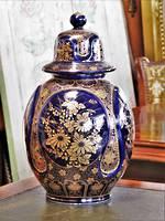 Blue Underglazed gilded lidded urn