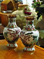 Vintage Chinese Cloisonne Vases Pair $895pr