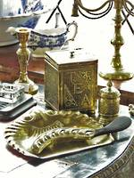 Antique Brass Curiosities - Inkwell, Tea Caddy, Crumb Brush & Tray