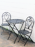 Black with Gold Highlights French style cafe 3 pc set Currently out of stock