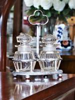 Oversized Cut Crystal Cruet or Condiment Set on Stand