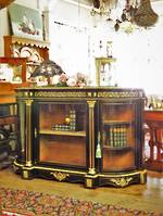 French Antique Empire Style Black Lacquered Credenza With Gilded Ormolu Mounts SOLD