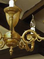 Empire Style Vintage Gilded Brass 6 Arm Chandelier $650.00