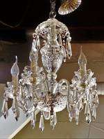 Art Deco Waterford Cut Crystal & Chrome 5 Arm Chandelier SOLD
