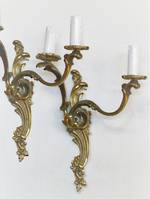 Pair of Original French Gilded Brass Rococo Revival Wall Brackets SOLD