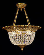 French Crystal Ceiling Light Half Basket Chandelier $2500.00 One in stock boxed.