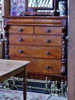 Large Mahogany Chest of Drawers - Pillars of Scroll topped Fruit