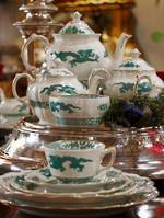 Booths Green Dragon Dinner Service 46 pieces (6 place settings) 1930s $1250