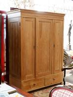 Large Antique Baltic Pine Wardrobe - Adjustable Shelving