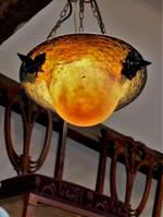 1920s French Signed Schneider Art Glass Pendant Light Shades $2250 each (4 available)