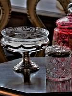 American Sterling Silver & Etched Glass Pedestal Bon Bon or sugar Cube Dish sold