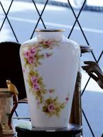 Huge Hand-Painted & signed Milk Glass vase