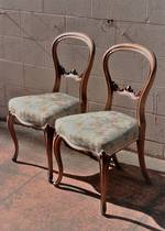 A Pair of Fine English walnut Balloon Back Chairs $700 pair