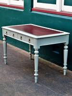 Red Leather Top Desk - French Eggshell blue Painted Frame