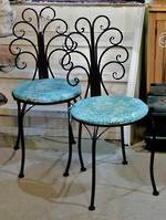 Pair of French style cafe chairs in black $285 pr