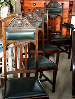 Impressive Arts & Crafts Dining Chairs x 9 - Including 2 Carvers - Jade Leather Upholstery