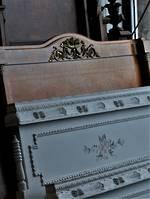 Antique  French Walnut  Head-board Bed With Ormolu Mounts $2250