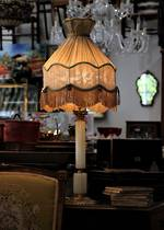 Vintage French Alabastar Table Lamp with Brass Ormalu Mounts & Silk Shade