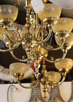 Rococo Revival Rise & Fall Ceiling Lights with Amber Etched Shades