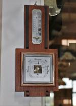 Art Deco Oak Barometer & Thermometer