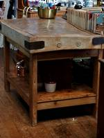 English Baltic Pine Butchers Block & Custom Built Base with shelf $2950