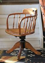 Antique Beech & Oak Captains Chairs - Spindle Back,  Cane Seat SOLD
