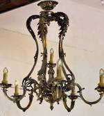 Antique European  rococo Revival Solid Brass Chandelier $3950.00
