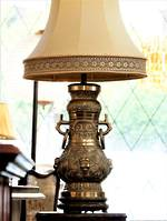 Cast Brass Early Chinese  Ceremonial Vessel Table Lamp