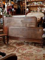 French Woven Cane Oak Bed - With Rails & Slats - Double S1495