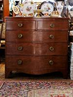 Georgian Compression Mahogany Serpentine Chest of Drawers $3500