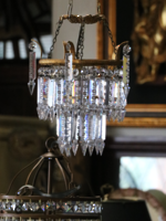 Art Deco Era Cut Crystal Waterfall Chandelier Pendant