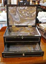 Ebony Jewellery or Deed Box - 19th Century $350