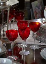 Red Tinted Hand-Blown Wine Glasses (8)