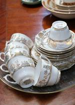 6 x Trios Gold & White Chinese Design Roselyn Bone China $235
