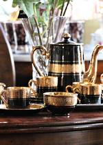 Demitasse Sevres Black & Gold Coffee Set 1951 Paris