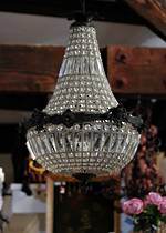 Small French Basket Crystal Chandelier