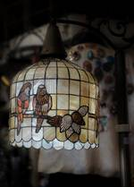 Unique Floor Standard Lamp - Shell Mosaic Shade - Birds $750