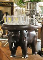 Carved Elephant Side Table $650