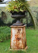Bronzed Cast Iron Garden Urn SOLD, Plinth Available $950.00