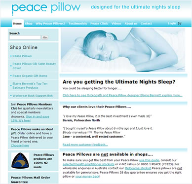 Peace Pillows Website