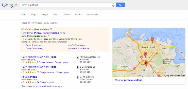 Example of Local Google Search Results